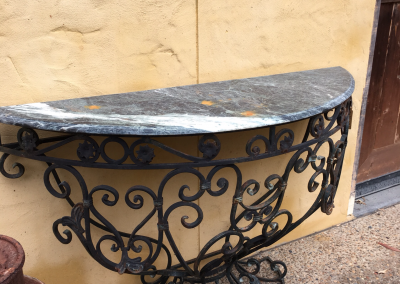 Half Circular Console Marble and Iron Table  $1295.00