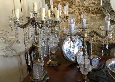 Antique Crystal Chandelier Table  Lamps