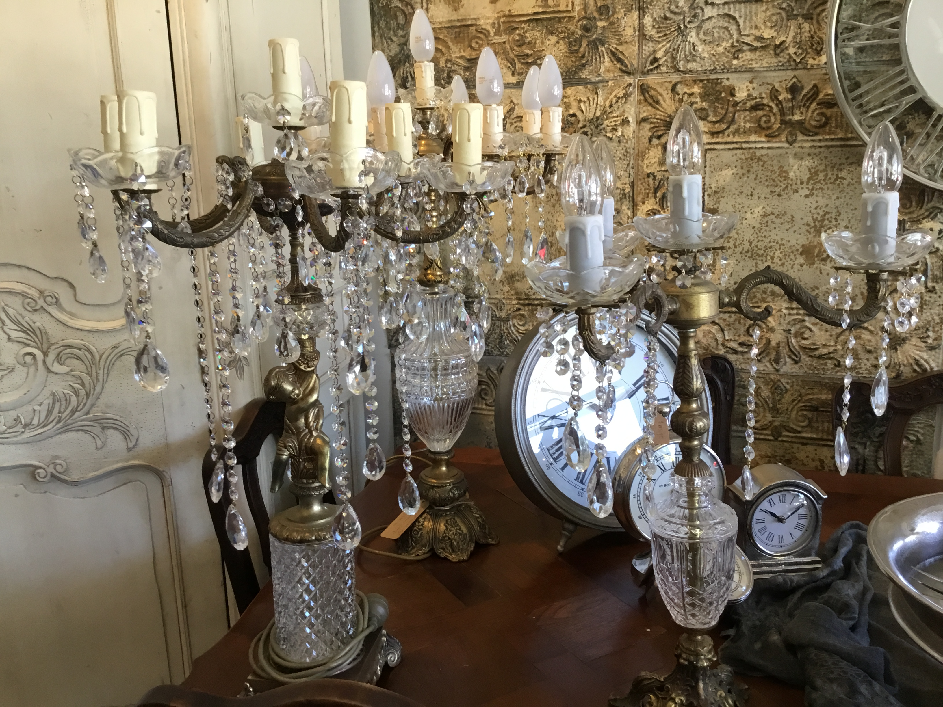 Antique Crystal Chandelier Table Lamps Objects Of Interest