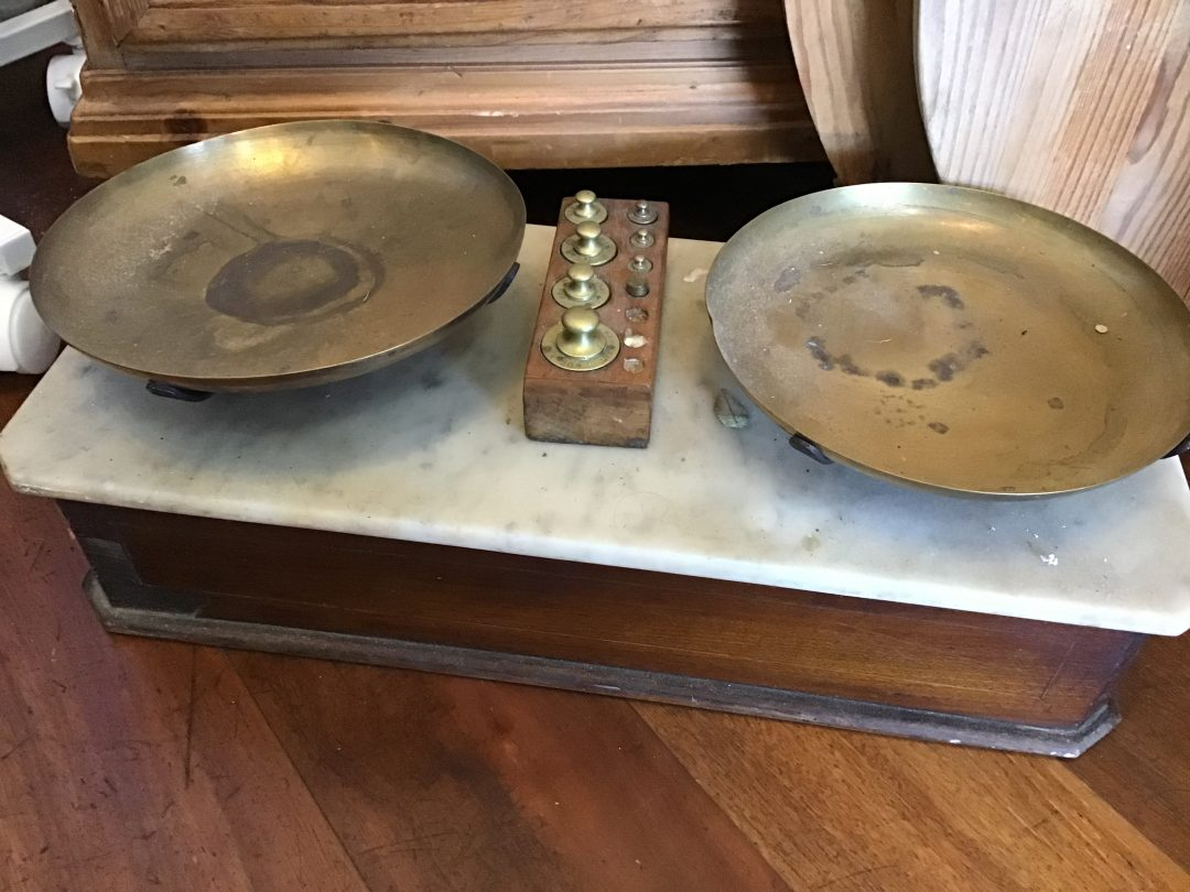 Set of French Scales Timber and Marble $495