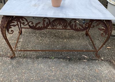 Large Marble and Iron Coffee Table $795