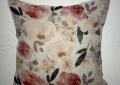 Posy Linen Cushion Pink